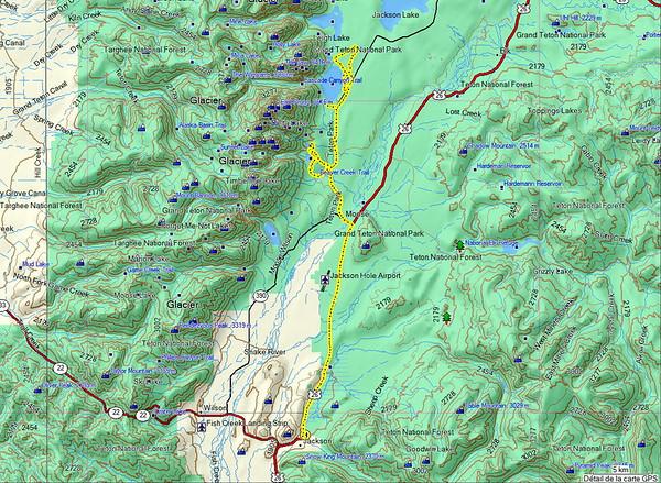 Aujourd'hui, dernier jour de randonnée, demain nous quittons les USA....snif snif!!! Carte de notre trajet du jour, en voiture et à pieds